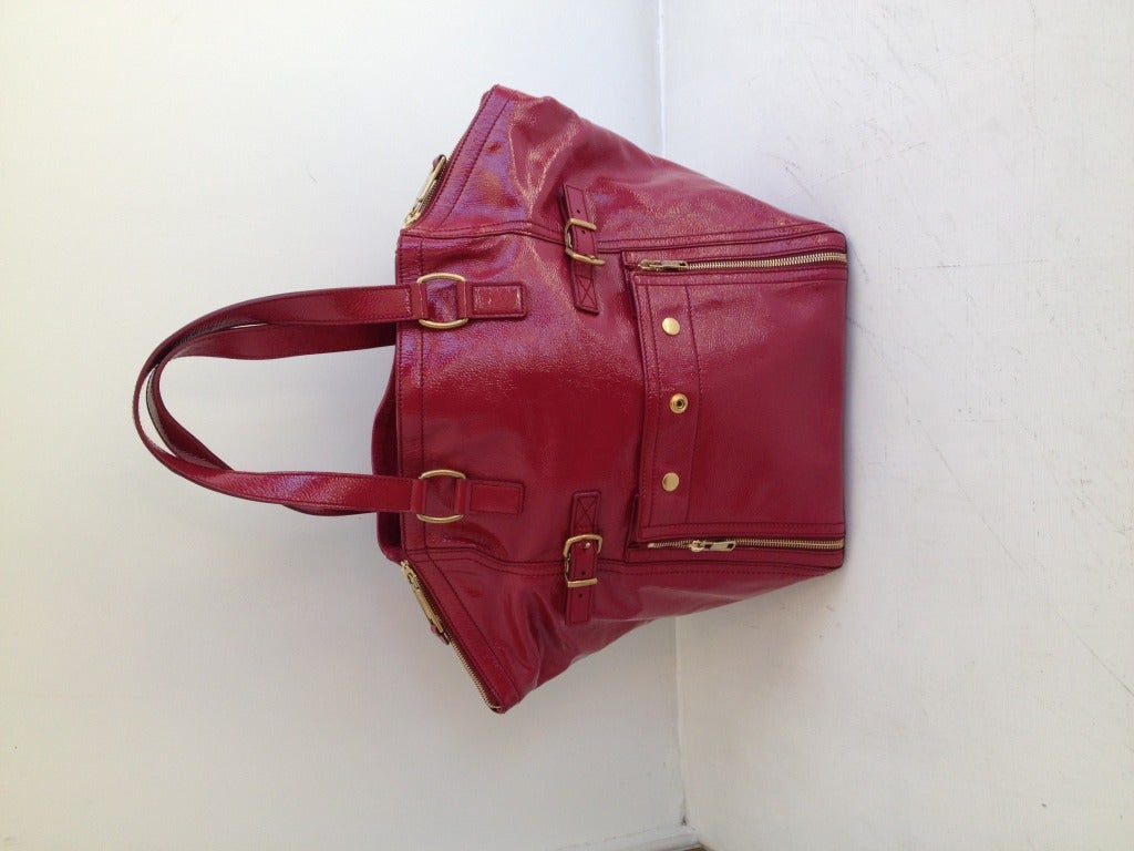YSL Raspberry Patent Downtown Bag at 1stdibs