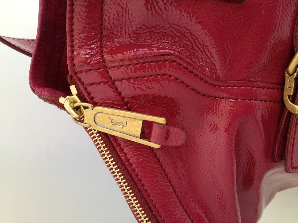 YSL Raspberry Patent Downtown Bag at 1stdibs