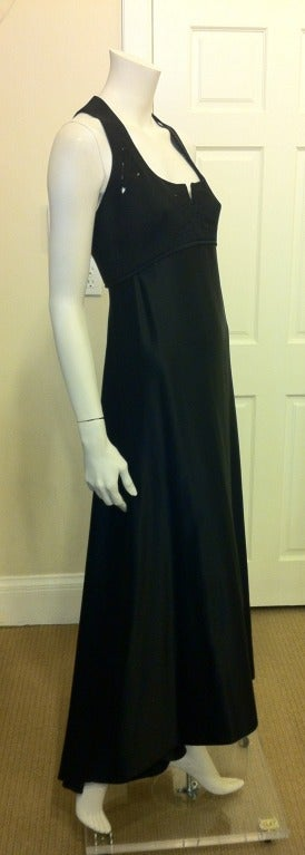 Chado Black Hammered Silk Gown In Excellent Condition For Sale In San Francisco, CA