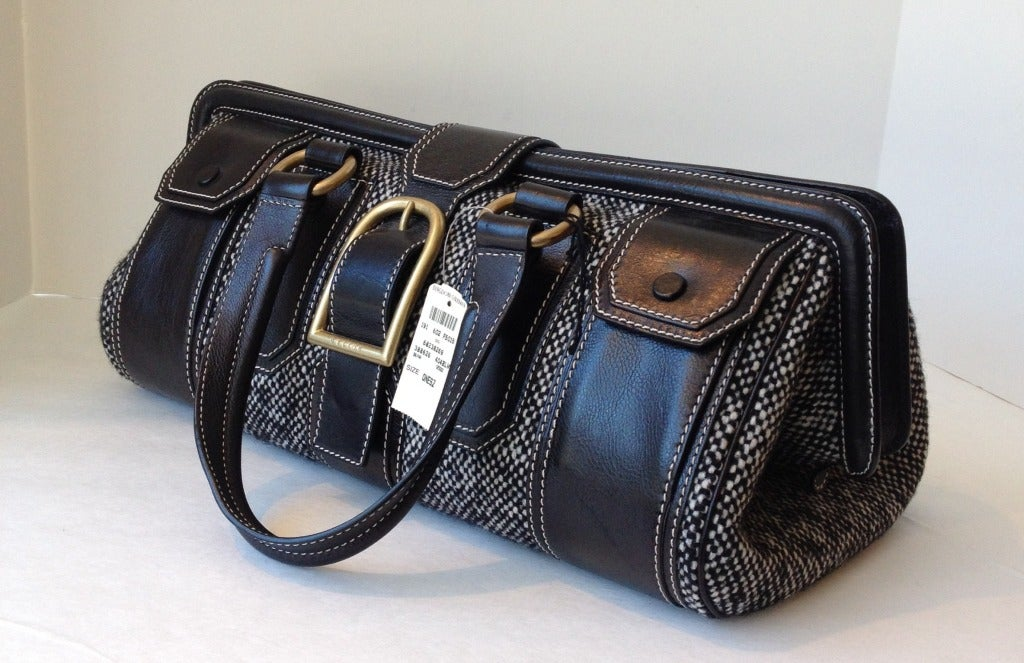 Celine Tweed and Leather Handbag 3