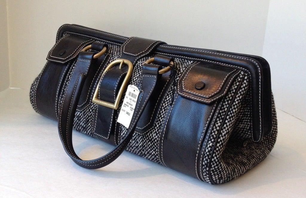 Black Celine Tweed and Leather Handbag For Sale