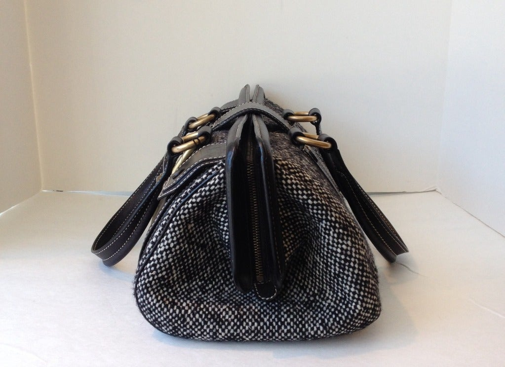 Celine Tweed and Leather Handbag In New never worn Condition For Sale In San Francisco, CA