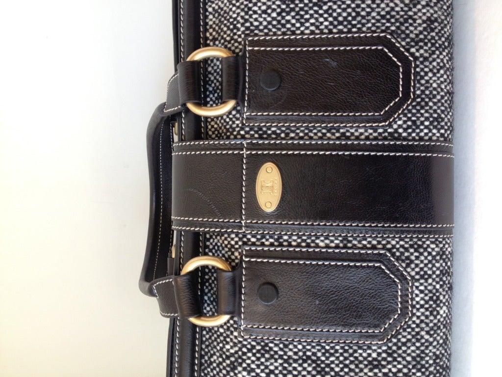 Women's Celine Tweed and Leather Handbag For Sale