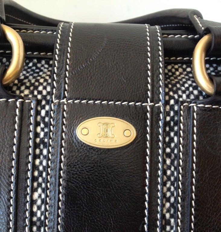 Celine Tweed and Leather Handbag For Sale 1