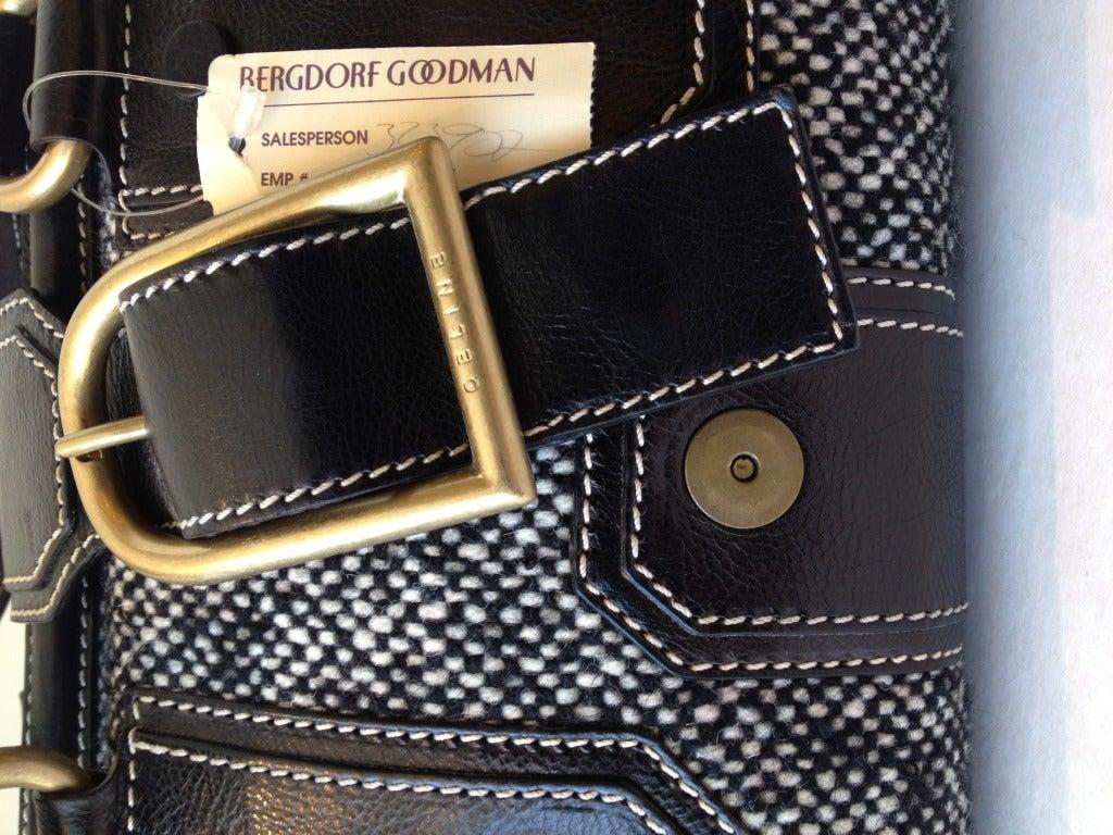 Celine Tweed and Leather Handbag For Sale 2