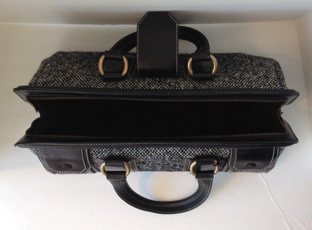 Celine Tweed and Leather Handbag For Sale 3