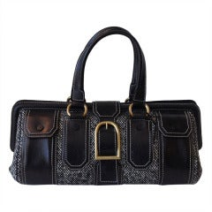 Celine Tweed and Leather Handbag