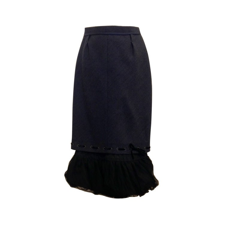 Louis Vuitton Slate Pencil Skirt with Petticoat