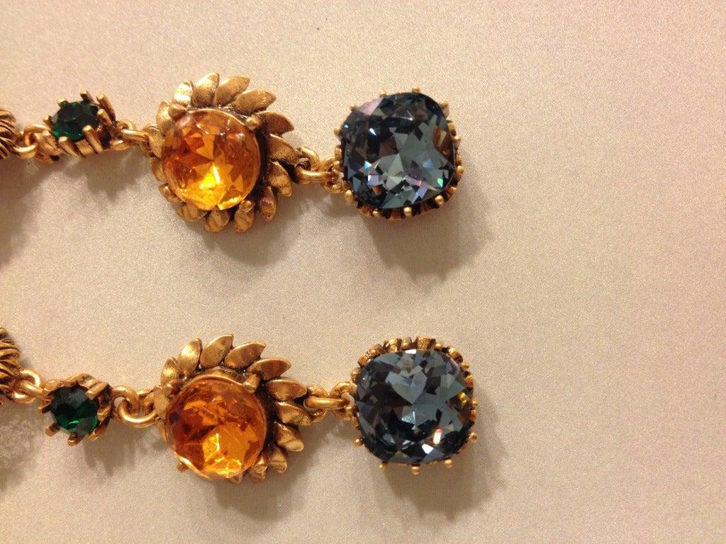 Oscar de la Renta Multi-Colored Jewel Earrings 2