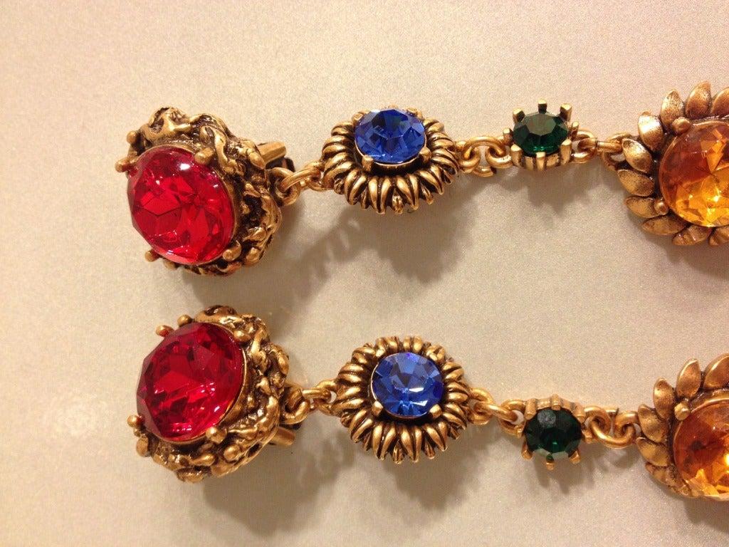 Oscar de la Renta Multi-Colored Jewel Earrings 3