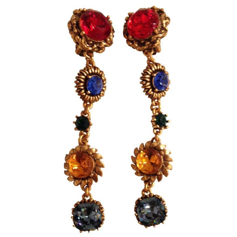 Oscar de la Renta Multi-Colored Jewel Earrings 1