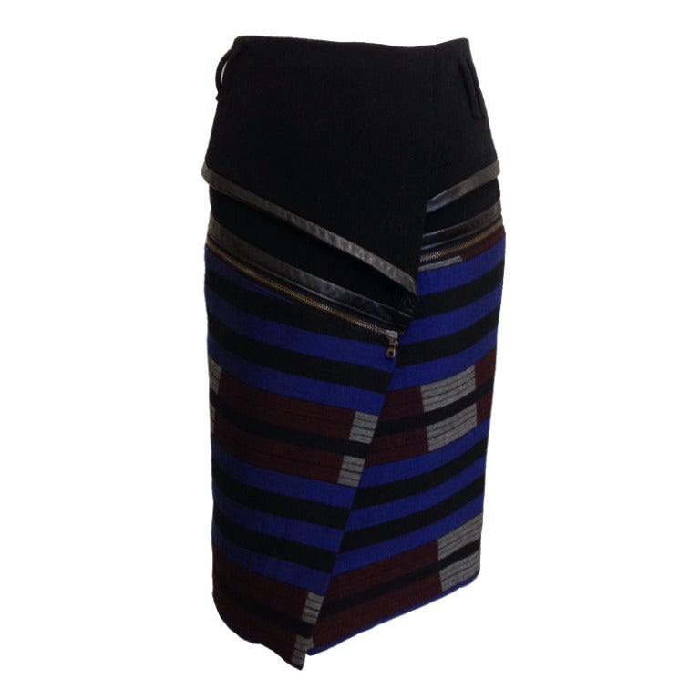 proenza schouler wrap skirt with leather trim for sale at