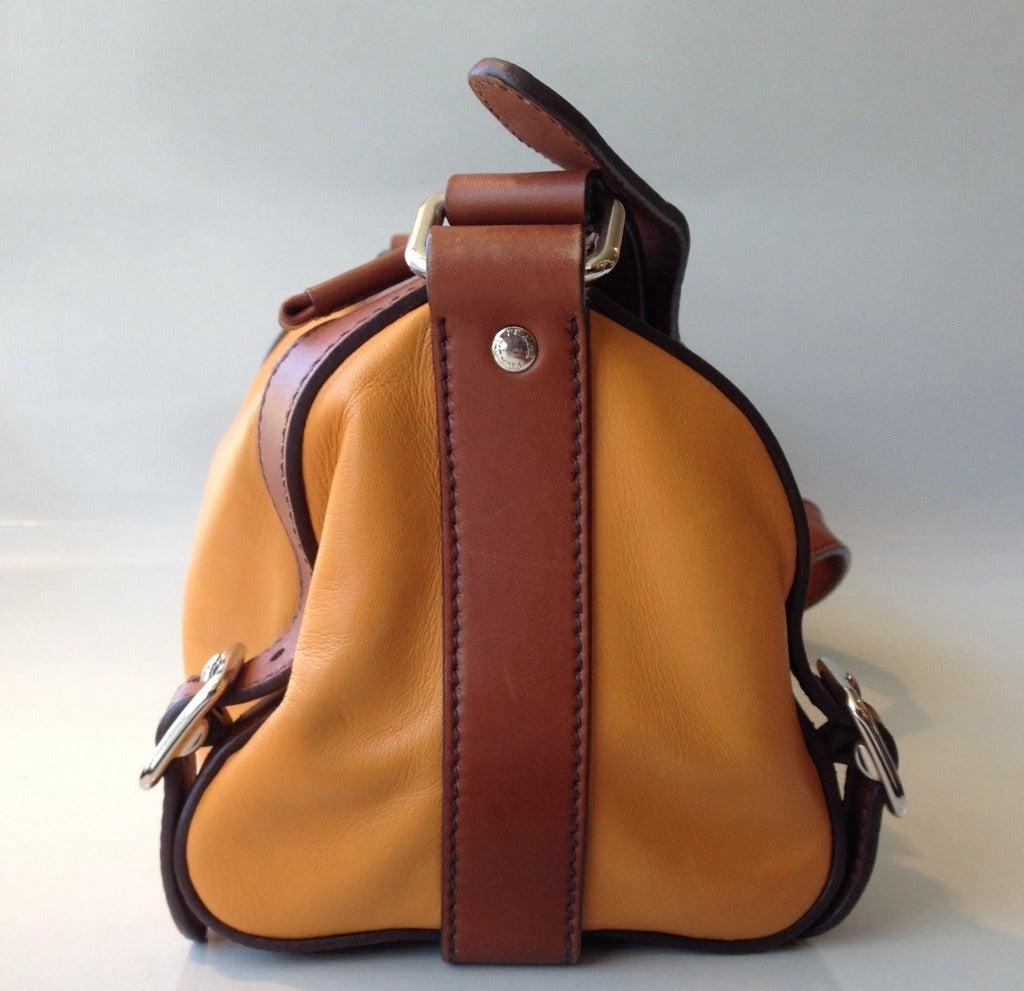 Prada Yellow and Brown Leather Bag at 1stdibs