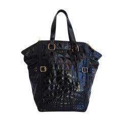 """Yves Saint Laurent Black Patent """"Downtown"""" Bag"""