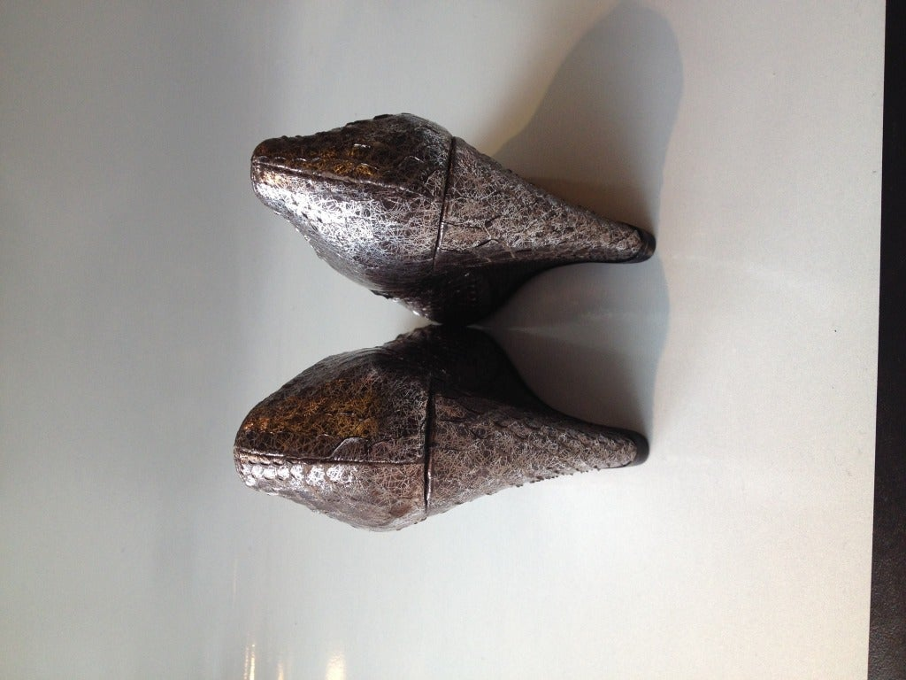 Christian Louboutin Silver Snakeskin Wedge In New Condition For Sale In San Francisco, CA