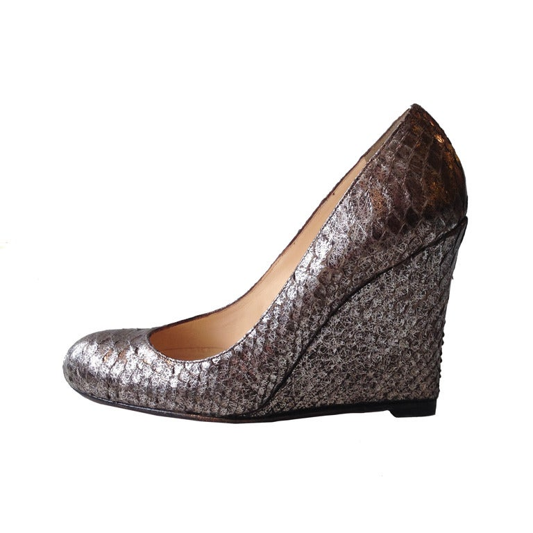 Christian Louboutin Silver Snakeskin Wedge For Sale
