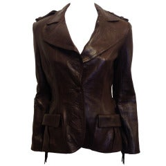 Lanvin Brown Leather Jacket With Fringe