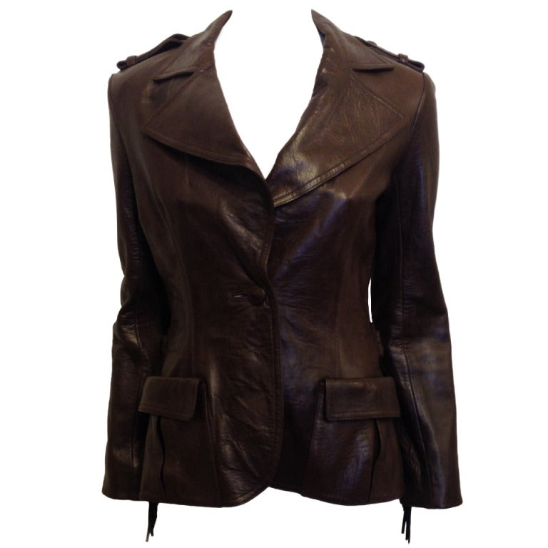 Lanvin Brown Leather Jacket With Fringe 1