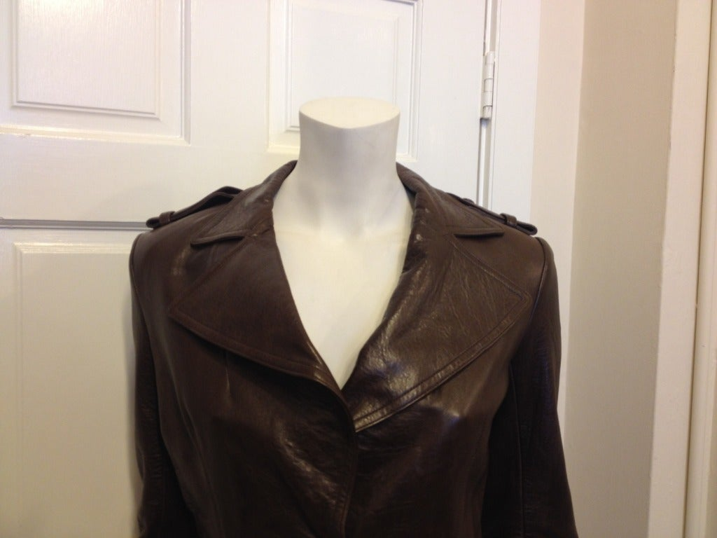 Lanvin Brown Leather Jacket With Fringe 2