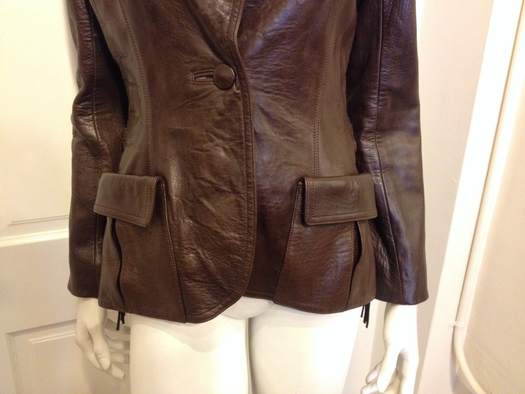 Lanvin Brown Leather Jacket With Fringe 3