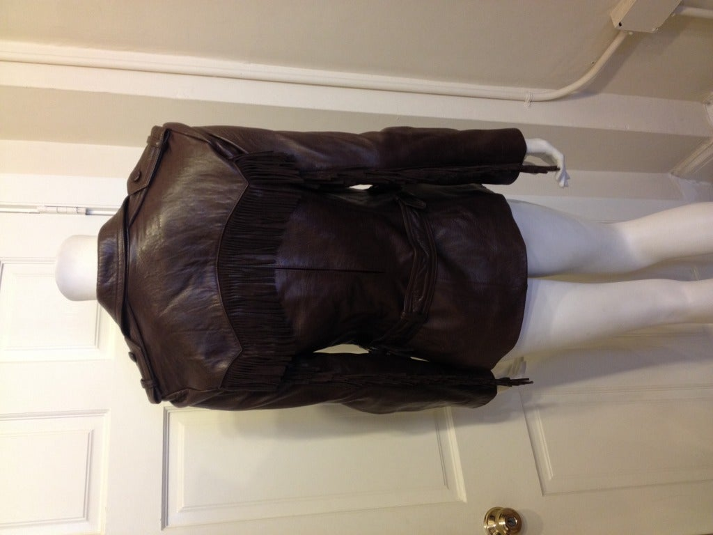 Lanvin Brown Leather Jacket With Fringe 5