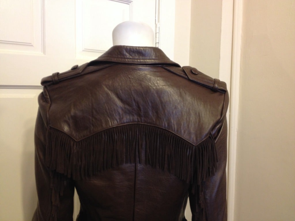 Lanvin Brown Leather Jacket With Fringe 6