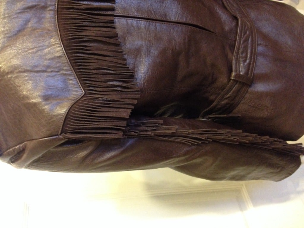 Lanvin Brown Leather Jacket With Fringe 7