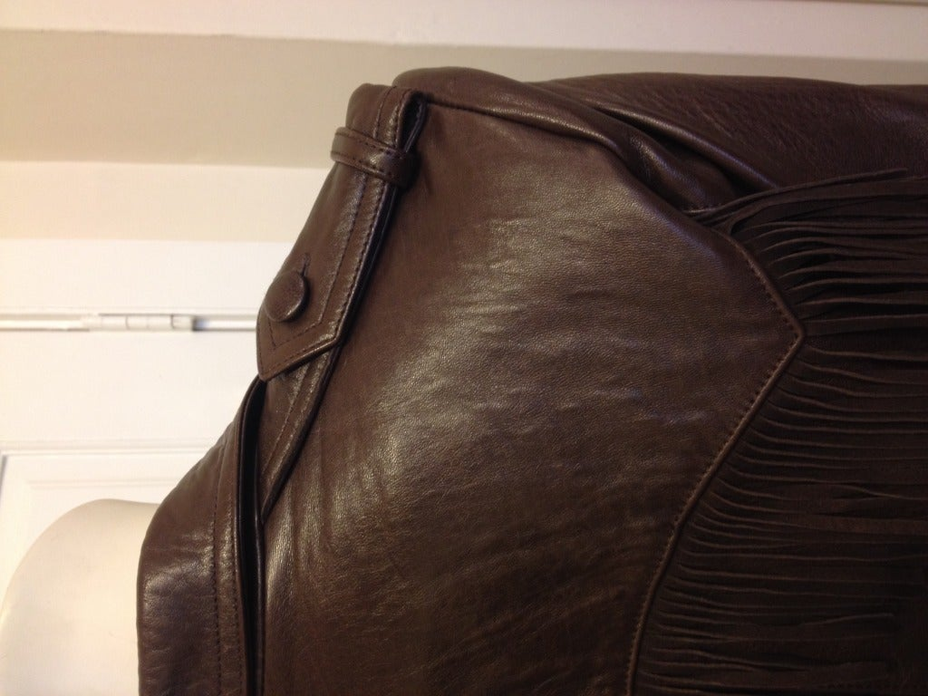 Lanvin Brown Leather Jacket With Fringe 8
