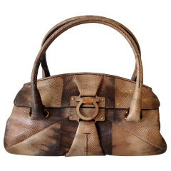 Salvatore Ferragamo Brown and Beige Reptile Handbag