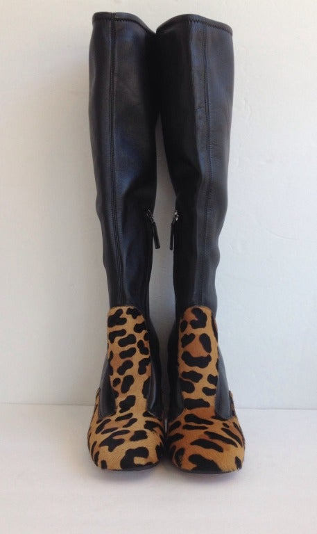 Prada Leopard Print Pony Hair Leather Boots At 1stdibs