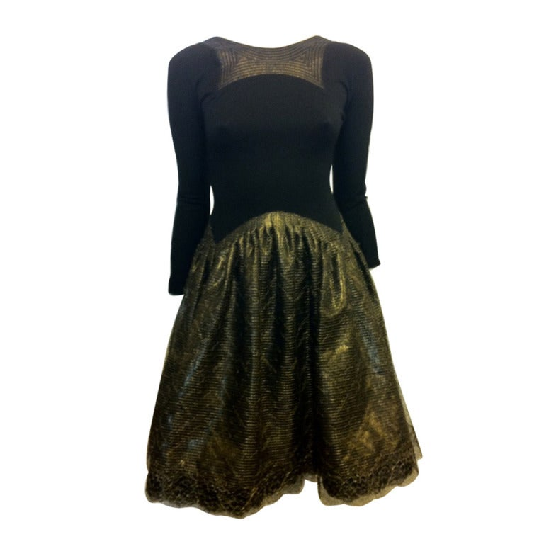 Geoffery Beene Black and Gold Dress For Sale