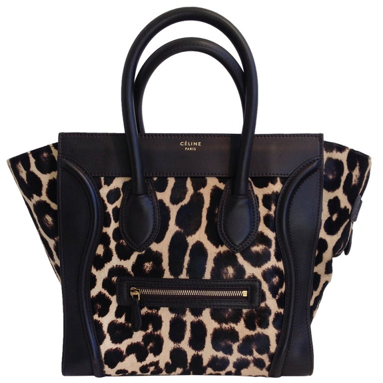 celine pony hair mini luggage tote