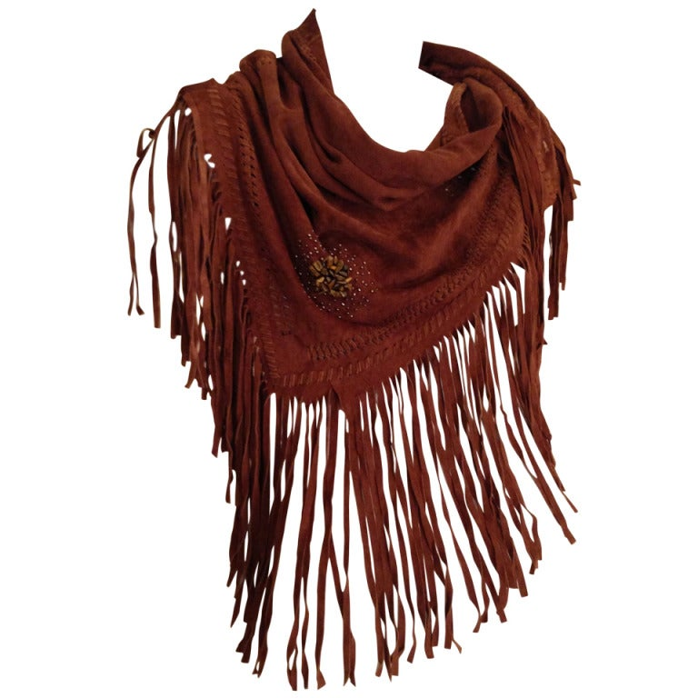 Henry Beguelin Brown Suede Scarf with Tiger Eye Embellishment 1