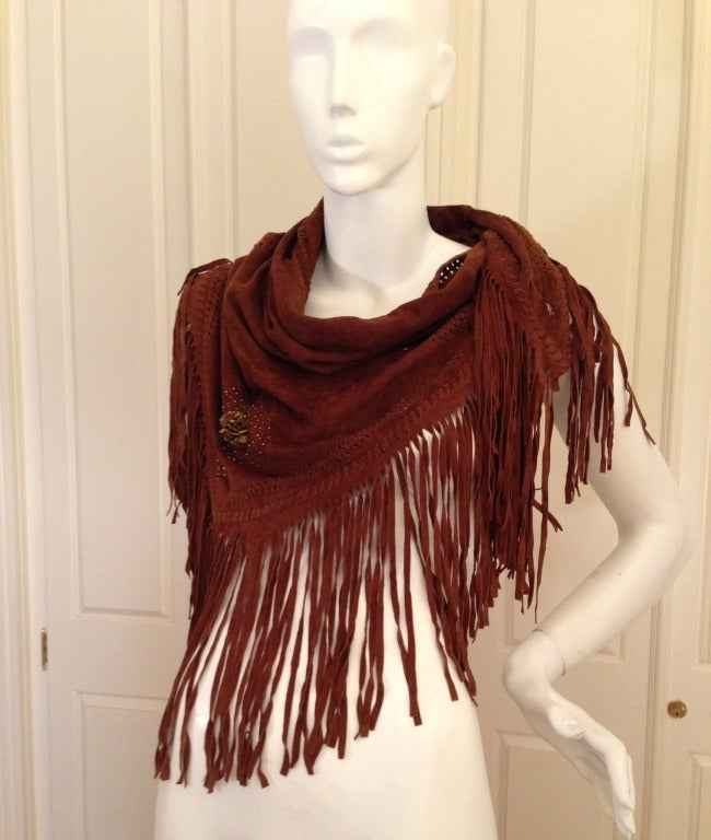 Henry Beguelin Brown Suede Scarf with Tiger Eye Embellishment 2
