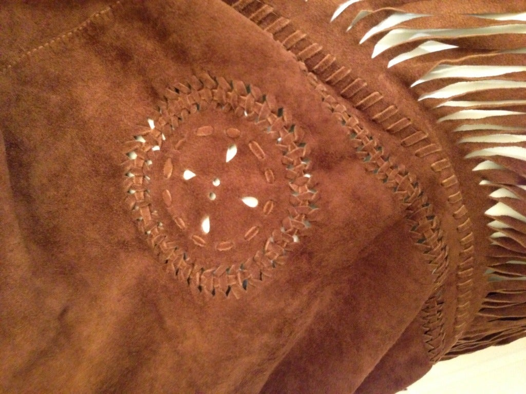 Henry Beguelin Brown Suede Scarf with Tiger Eye Embellishment 3