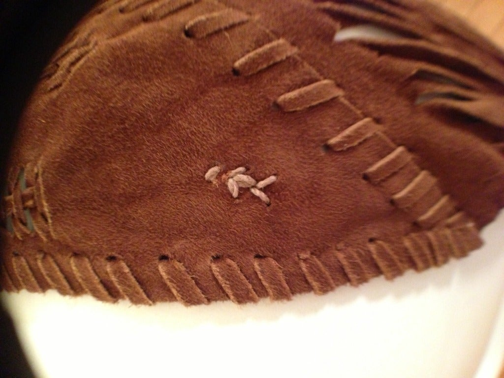 Henry Beguelin Brown Suede Scarf with Tiger Eye Embellishment 4