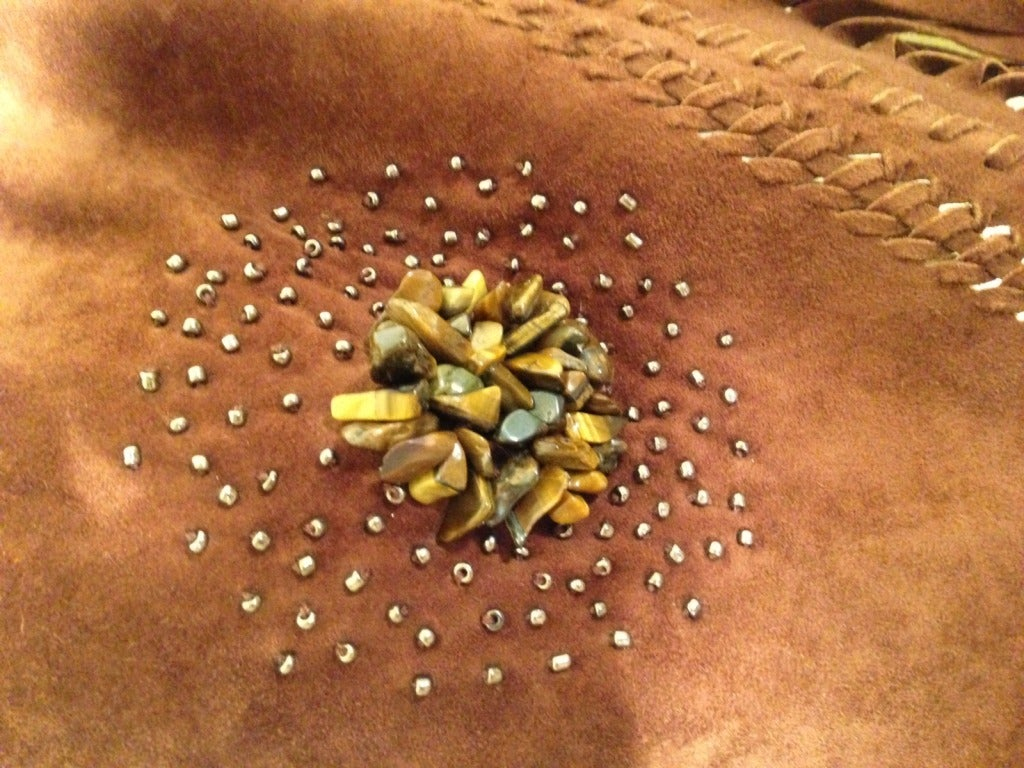 Henry Beguelin Brown Suede Scarf with Tiger Eye Embellishment 5
