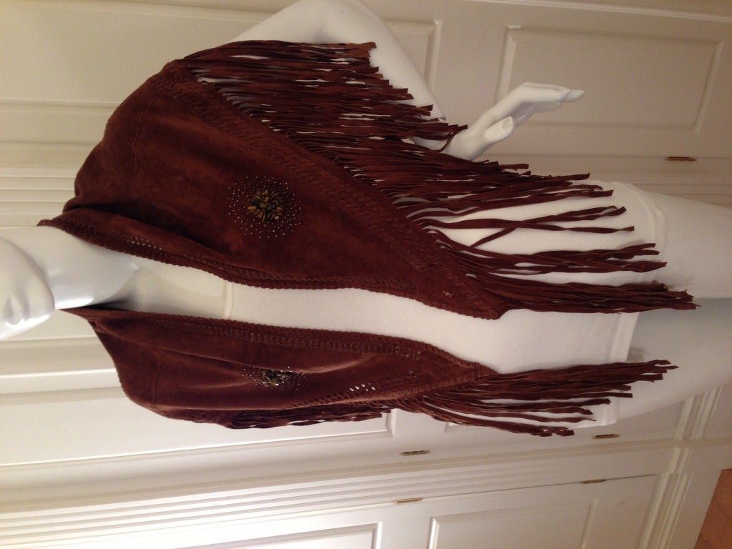 Henry Beguelin Brown Suede Scarf with Tiger Eye Embellishment 6