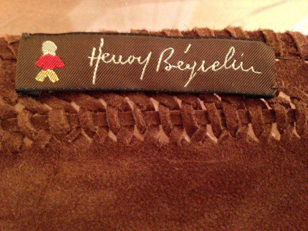 Henry Beguelin Brown Suede Scarf with Tiger Eye Embellishment 7