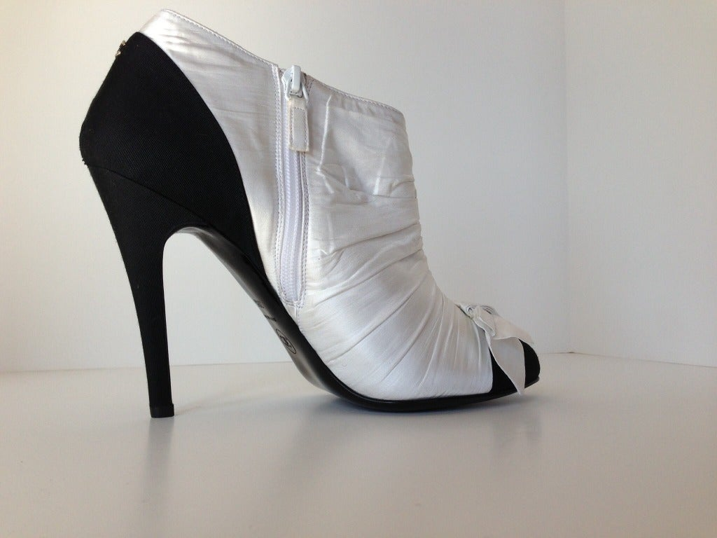 chanel black and white booties at 1stdibs