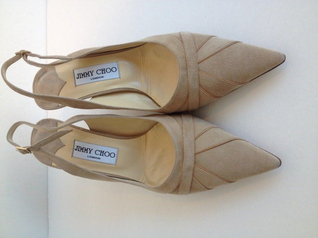 Jimmy Choo Beige Suede and Leather Heels 2