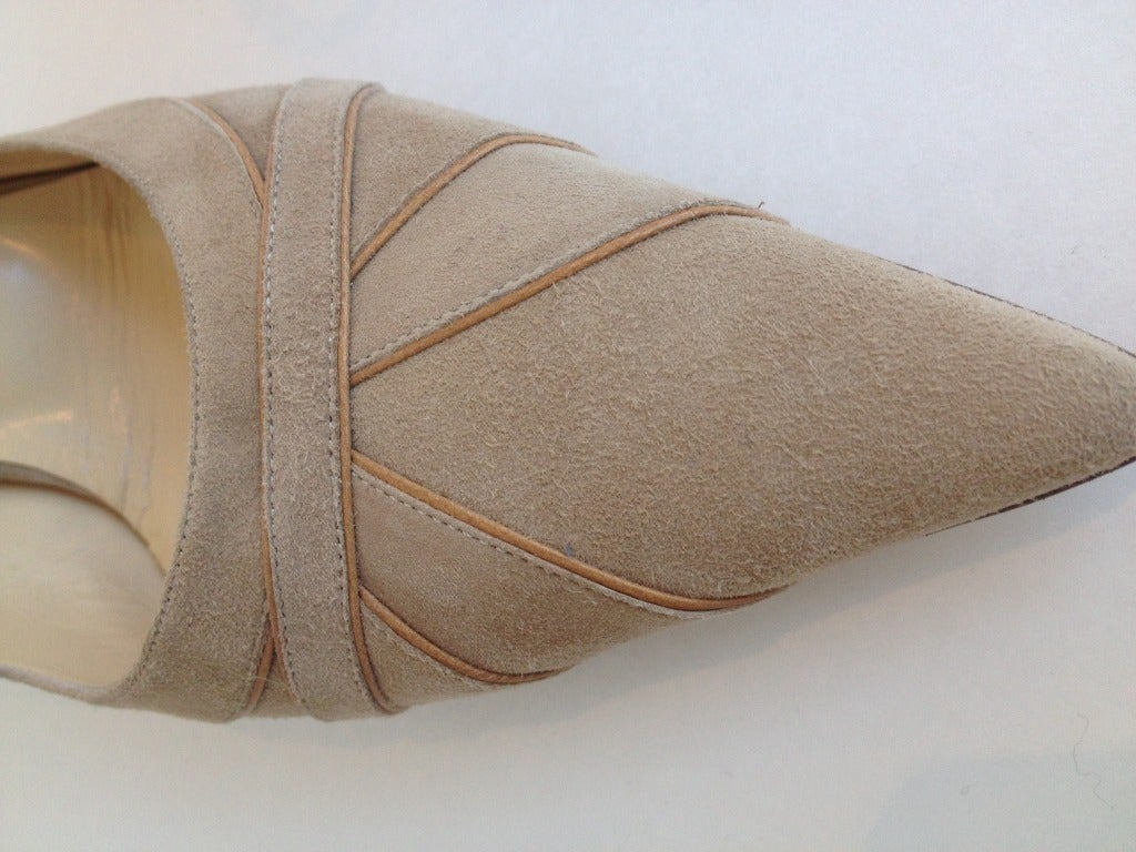 Jimmy Choo Beige Suede and Leather Heels 4