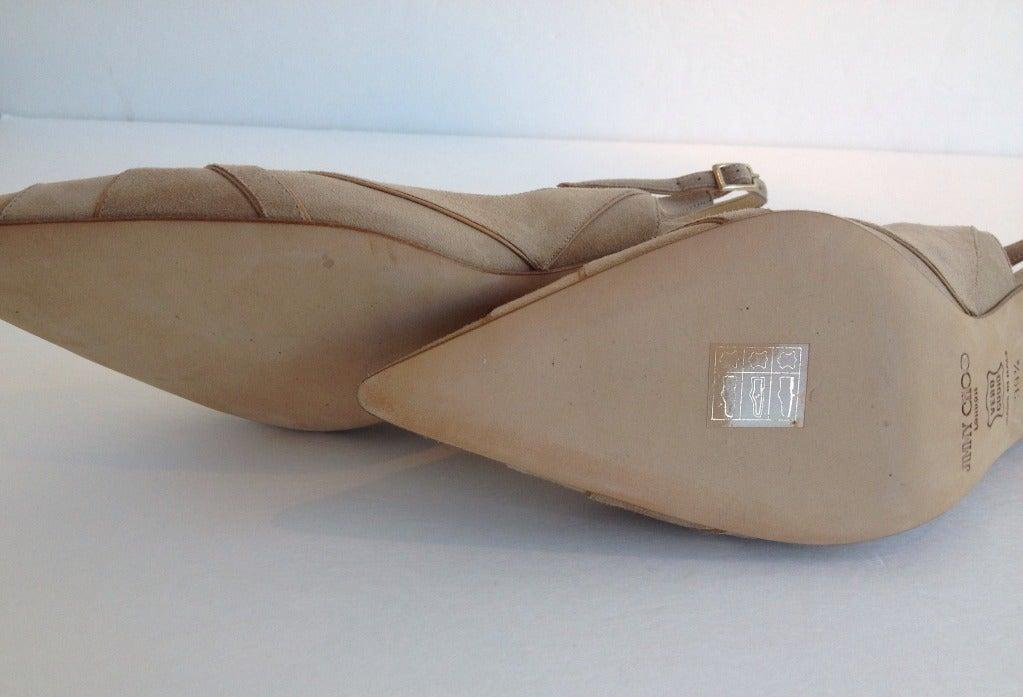 Jimmy Choo Beige Suede and Leather Heels 5