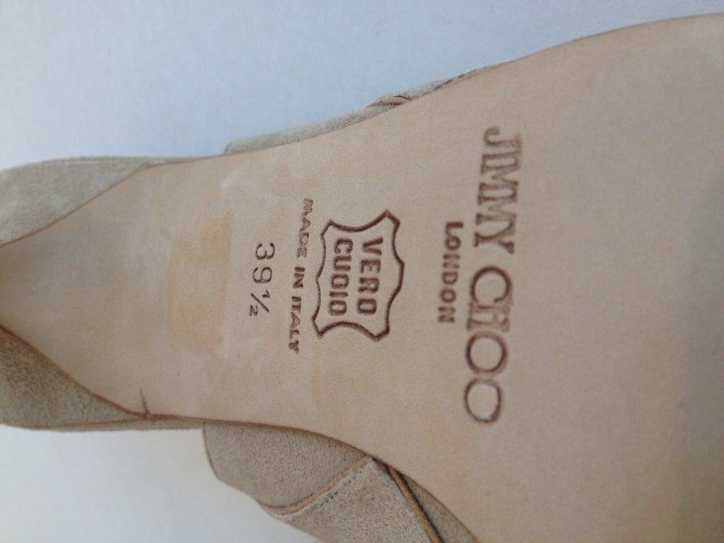Jimmy Choo Beige Suede and Leather Heels 6