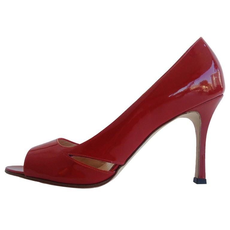 Manolo Blahnik Red Peep Toe Heels at 1stdibs