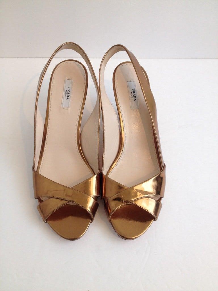 Prada Gold Wedge Sandals At 1stdibs