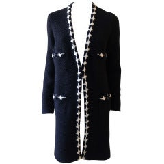 Chanel Black and White Knit Coat