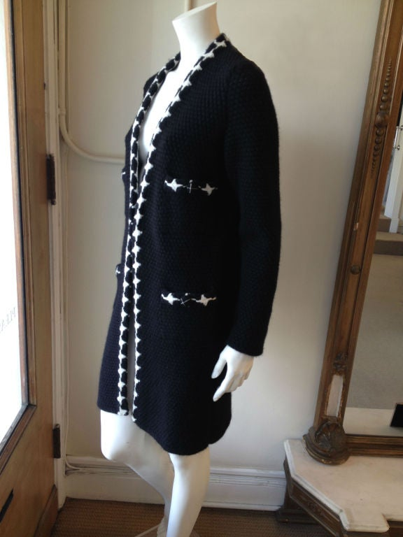 Women's Chanel Black and White Knit Coat For Sale