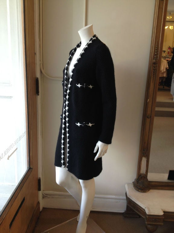 Chanel Black and White Knit Coat For Sale 1