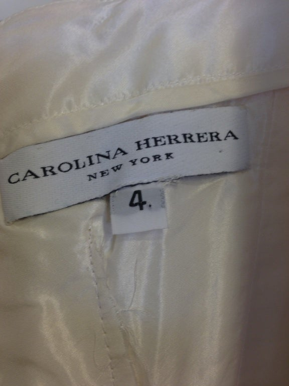 Carolina Herrera White Silk Strapless Evening Gown with Sequins  For Sale 2